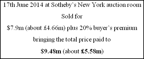 17th June 2014 at Sotheby's New York auction room